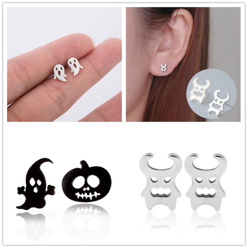 Oly2u Pendientes Kolczyki Funny Ghost & Pumpkin Tiny Stud Pendientes para mujeres accesorios de Halloween fiesta auriculares Dropshipping