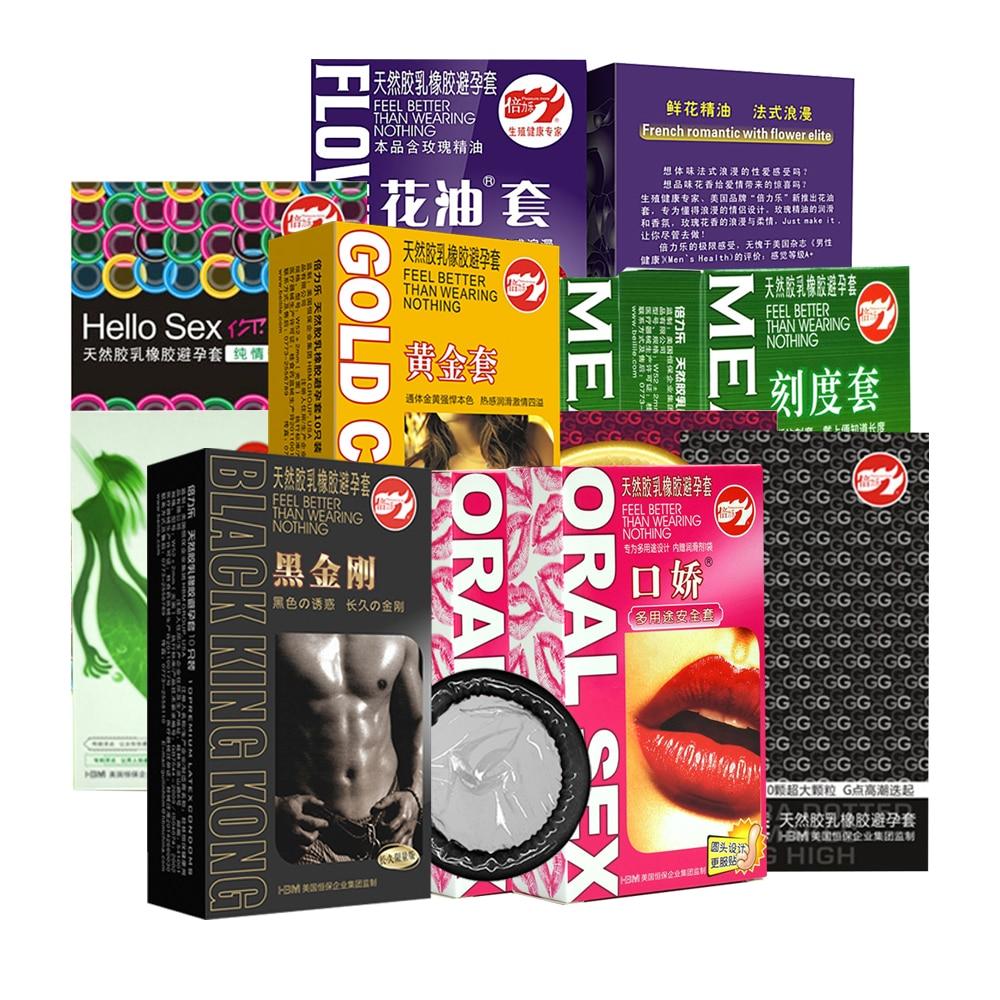 10 Uds. De Beilile, condones negros lubricantes ultrafinos, G-Point Flower Fruit Oral Kondom, Látex Natural, manga de pene, herramientas sexuales para hombres