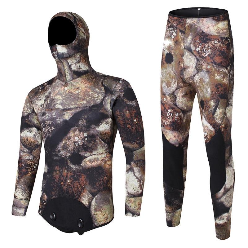 5MM 2 Pieces Neoprene Scuba Diving Suit Hooded Men Snorkeling Underwater Spearfishing Hunting Keep Warm Swim Triathlon Wetsuit