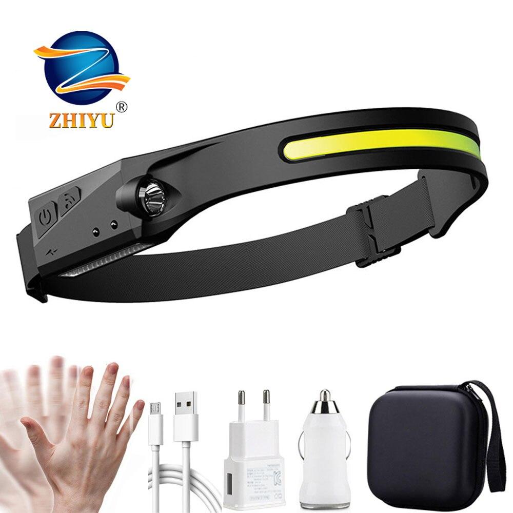 USB Rechargeable Head Lamp Torch COB LED Headlamp Sensor Headlight with Built-in Battery Flashlight 5 Lighting Modes Work Light