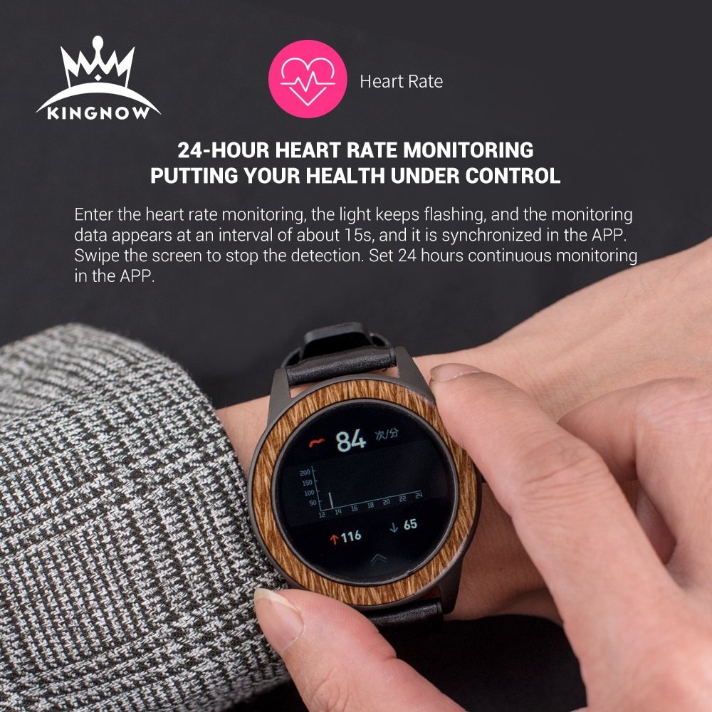 KINGNOW Smart Watches For Men's wristwatch 2021 Wooden Sports Watch Multifuntional Waterproof Bluetooth Clock For Android ios enlarge