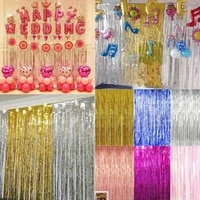 2m metallic foil tinsel fringe curtain baby shower birthday party decoration wedding photography backdrop photo prop gold silver