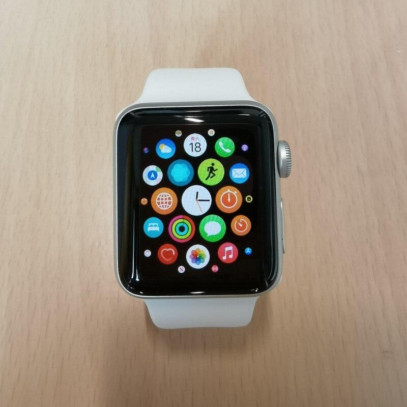 ساعة أبل سلسلة 3 الخلوية 38 مللي متر الفضة مع الأبيض الرياضة الفرقة Smartwatch