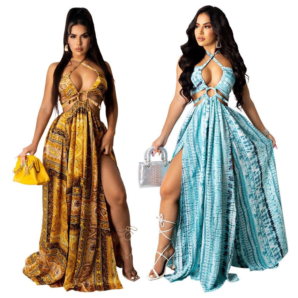 Vintage Print Long Maxi Dress Women Sexy Lace Up Halter Backless Robe Sundress Bandage Split Vestidos Boho Beach Dresses
