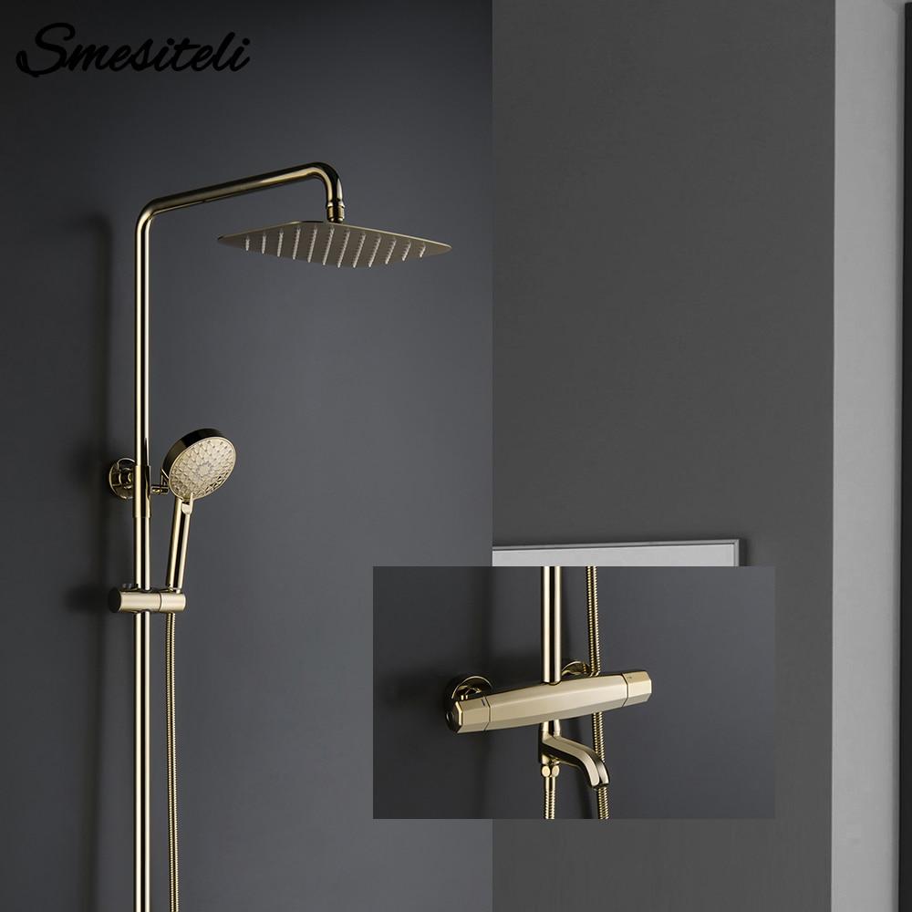 Thermostatic Three Functions Golden Brass Bathtub Diverter Mixer Tap Multifunction Hand Held Shower Head Bathroom Faucet golden brass summit fiesta mania