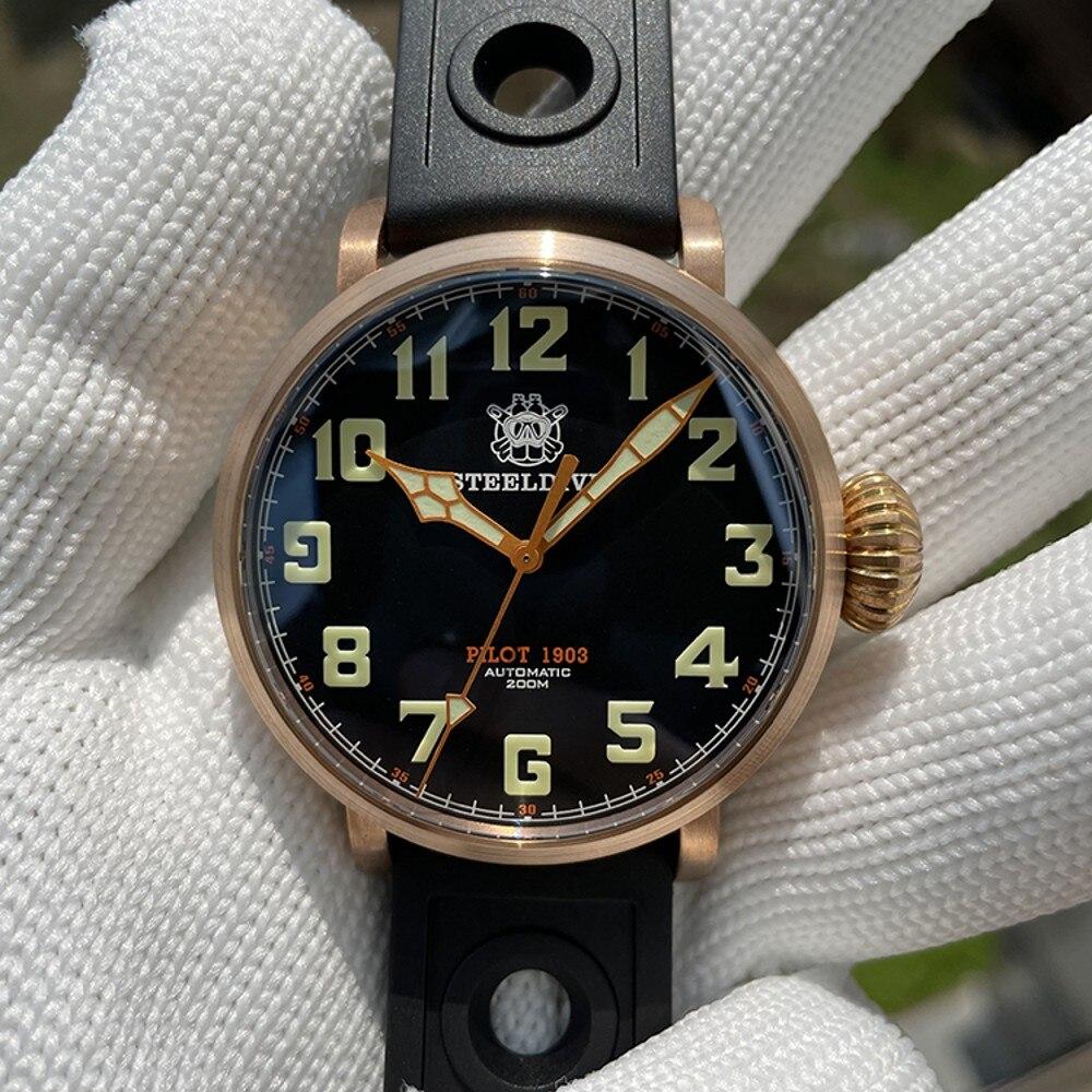 Pulseira de Borracha à Prova Steeldive Bronze Relógio Piloto Nh35 Estilo Simples Mecânico Relógios Masculinos Luminosa 200m Dwaterproof Água 2021 Sd1903s Cusn8