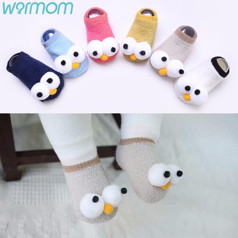 Теплые детские носки с большими глазами хлопковые нескользящие носки для новорожденных детские носки-тапочки теплые носки из кораллового ...