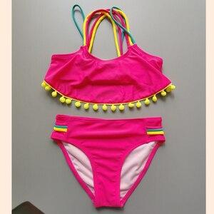 Children Bikinis Set Yellow Fur Ball Split Swimsuit for Girls Children Two Piece Swim Suit Kids Swimsuite Kids Bikini Tassel