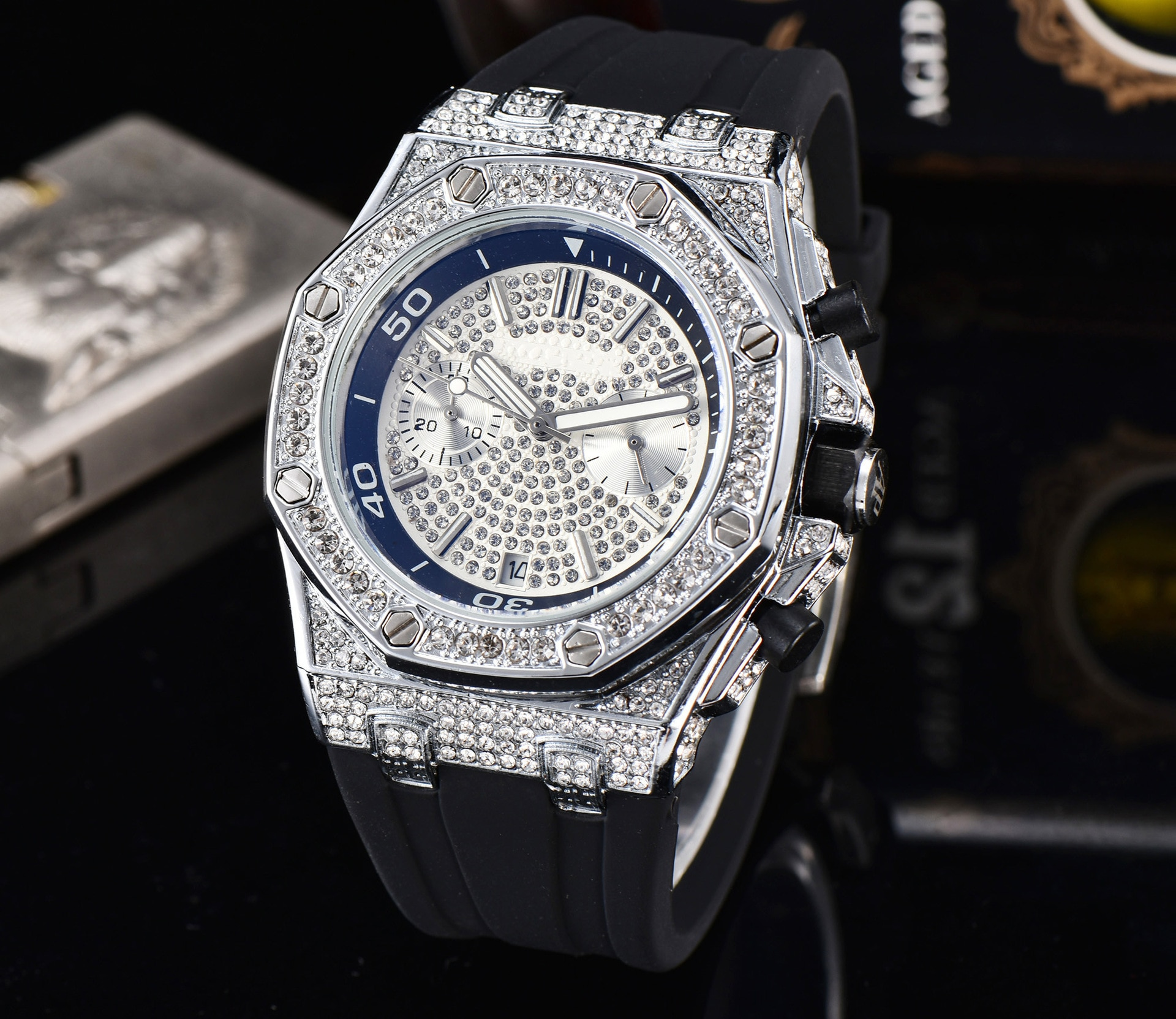 Diamond Hollow Men's Watch Sports Top Brand Luxury Fashion Business Dress Male Wristwatch Gypsophila