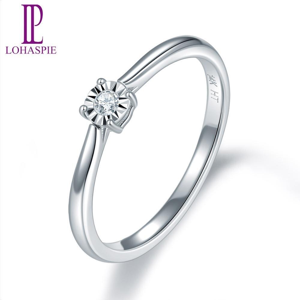 LP anillo de oro de diamante de boda para las mujeres sólido 14K oro amarillo blanco ilusión fina-Set Miracle Plate Diamond-Jewelry