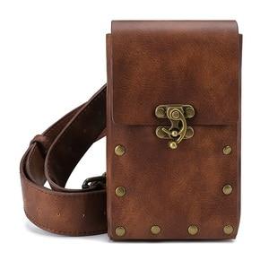 Women Men Vintage Concise Cavalier Style Waist Drop Belt Phone Bag Coin Bag Motorcycle Ride Outdoor Running Sport Black Brown