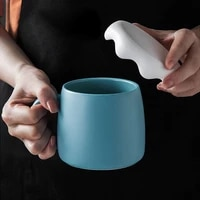 simple creative ceramic cup with lid office large capacity coffee milk cup with spoon home couple personality breakfast cup