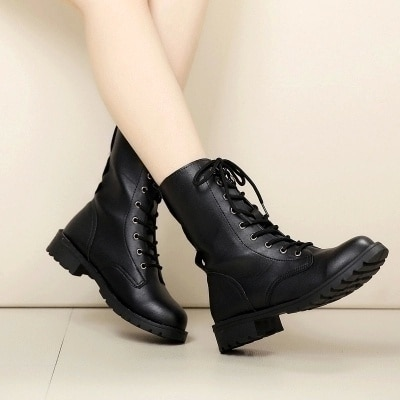 Nuevas botas de moda para mujer, botas militares de combate, zapatos de vestir de vaquero con cordones