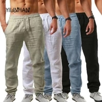 yilinhan new mens summer casual pants natural cotton trousers breathable white elastic waist straight mens pant top quality