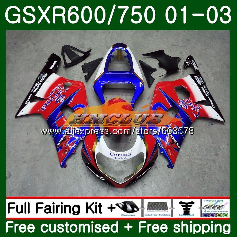 Cuerpo para SUZUKI GSX-R600 GSXR-600 K1 GSXR600 01 02 03 4CL.92 rojo kit completo GSXR 600 K 5 750 GSXR-750 GSXR750 2001, 2002 de 2003 carenado