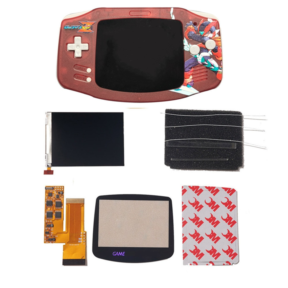 IPS V2 LCD Kits With UV Printed Custom Shells For GBA Backlight  V2 Screen 10 Levels High Brightness For Gameboy advance nintend enlarge