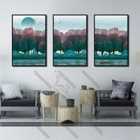 art landscape pictures canvas painting wall poster watercolor prints green and red forest boats in the river for home room decor