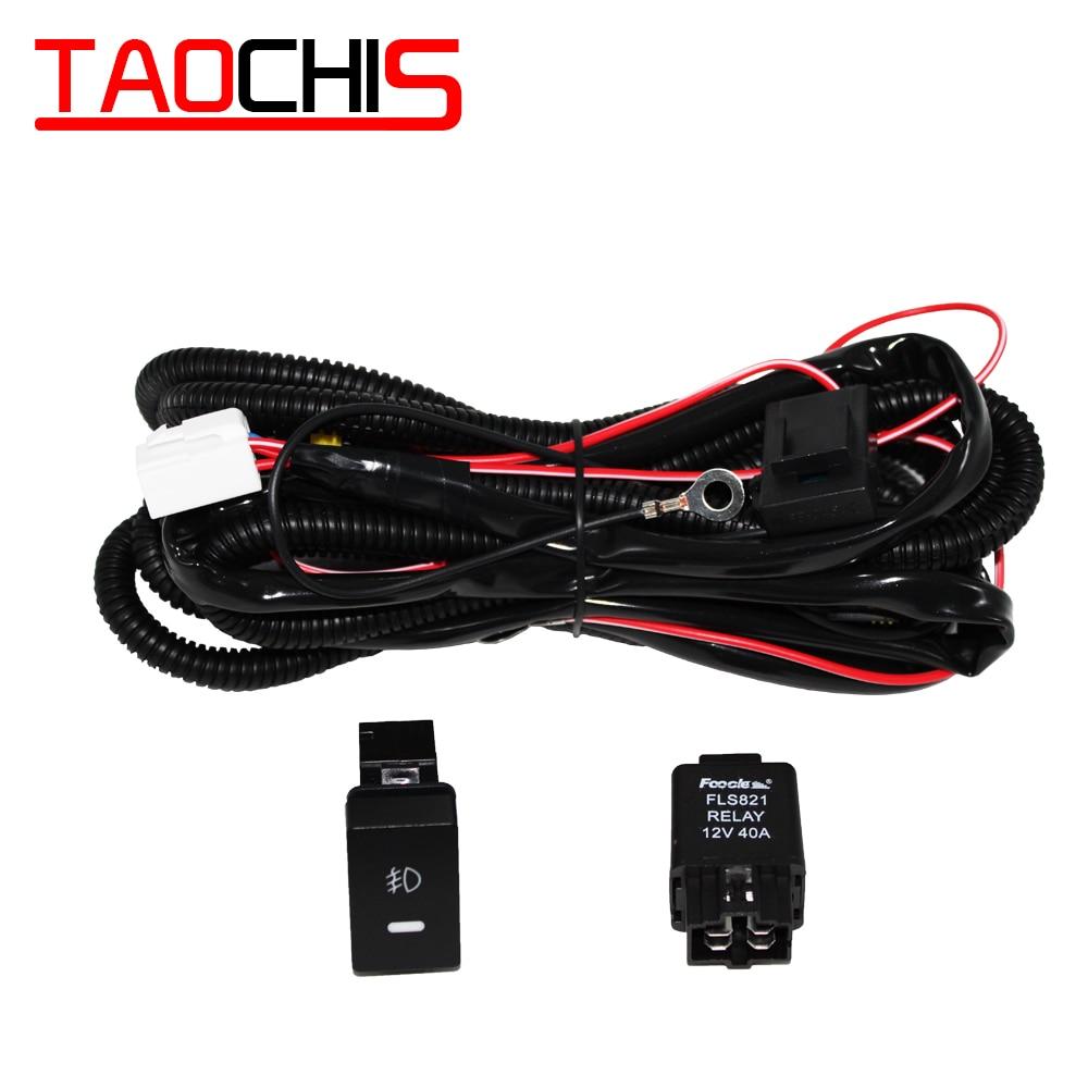 TAOCHIS 12V 40A H11 35w 55w 5 pines botón de encendido-apagado lámpara antiniebla relé luz antiniebla cableado arnés cables fusibles para Honda Fit City