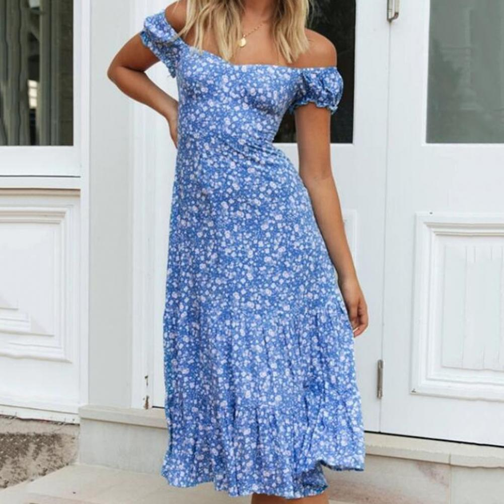 off shoulder self tie waist dress Attractive Women Dress Waist Tight Off Shoulder Print Puff Short Sleeves Lacing Slim Midi Dress Sundress for Holiday Beach