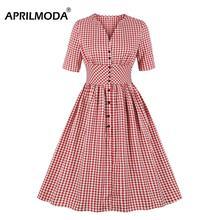 Hepburn Vintage Party Dress Plaid V-hals Korte Mouw Zomer Jurk 50s Rockabilly Riem Pin Up Jurken Plus Size Vrouwen kleding