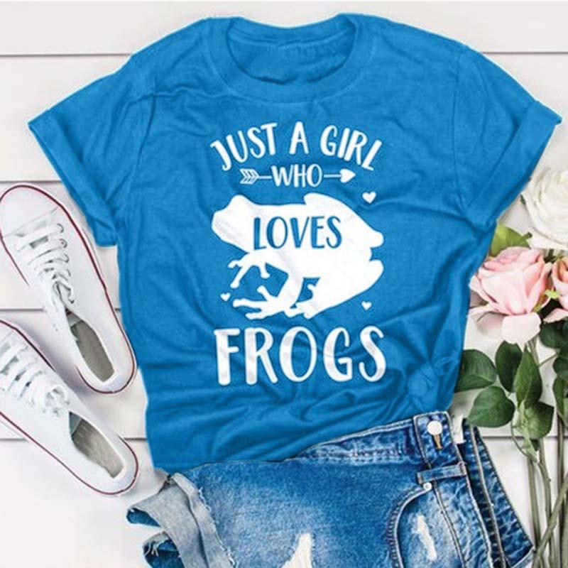 Apenas uma menina que ama sapos camisa verão manga curta algodão t para as mulheres casual gráfico bonito festa slogan t camisa bonito topos