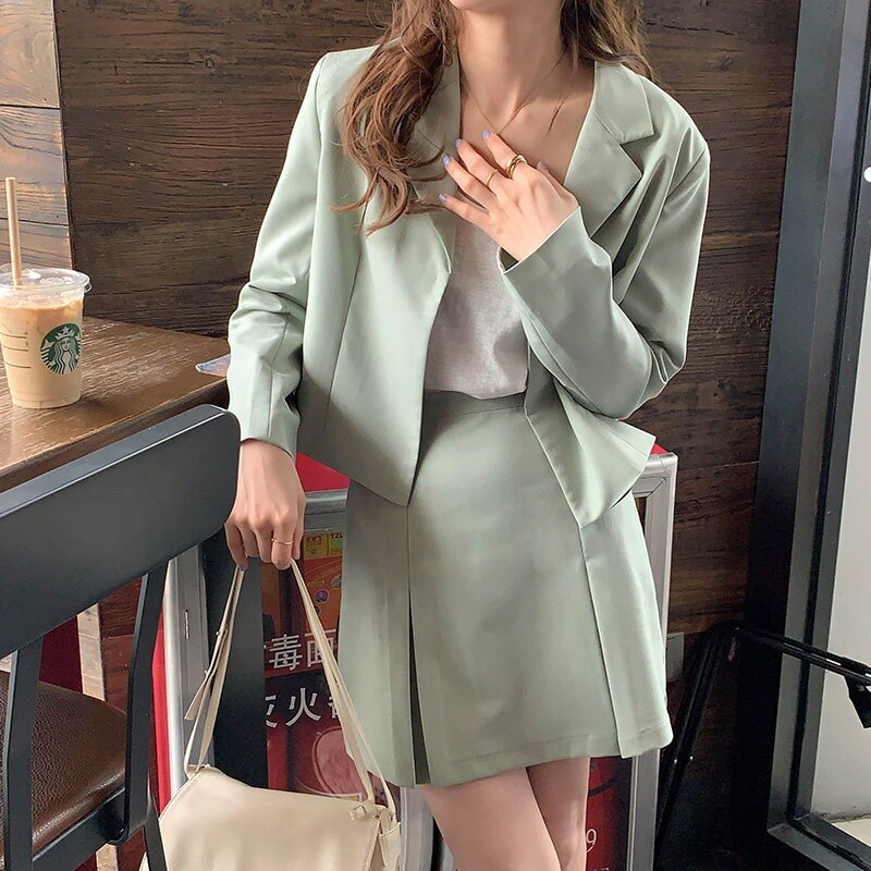 2021 Spring New Preppy Style Two-Piece Set Casual Small Suit Short Coat Women's High Waist Slimming