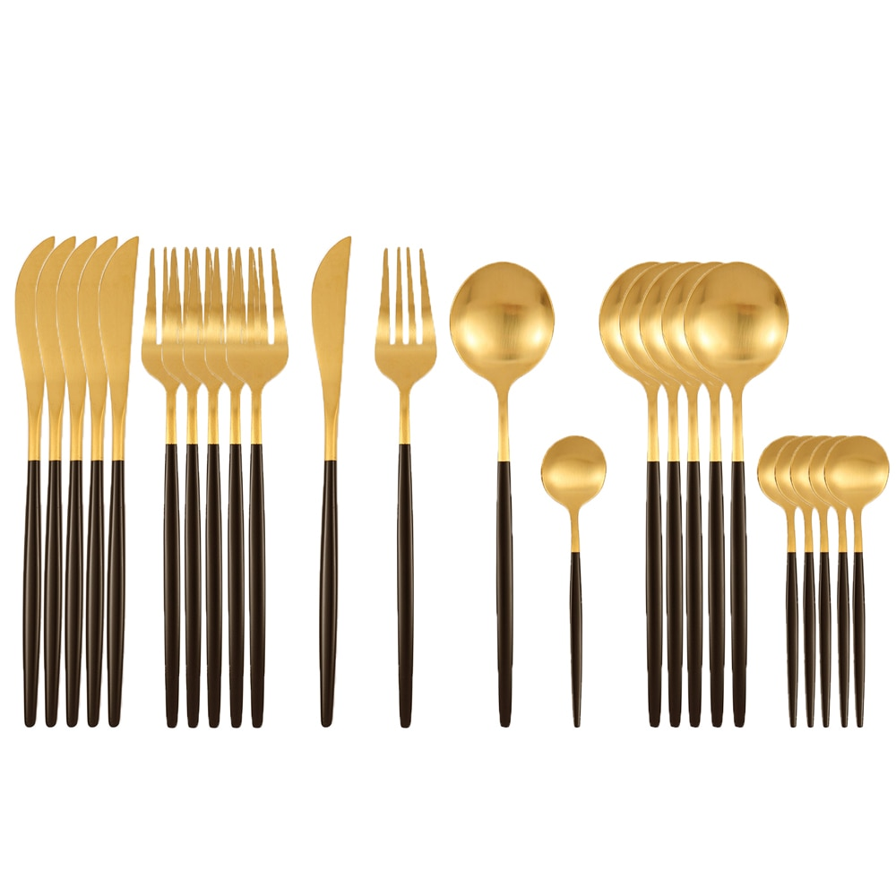 24Pcs Matte Stainless Steel Cutlery Set Dinnerware Set Black Gold Knife Fork Spoon Silverware Kitchen Party Dinner Tableware Set 24pcs matte stainless steel cutlery set dinnerware set black gold knife fork spoon silverware kitchen party dinner tableware set