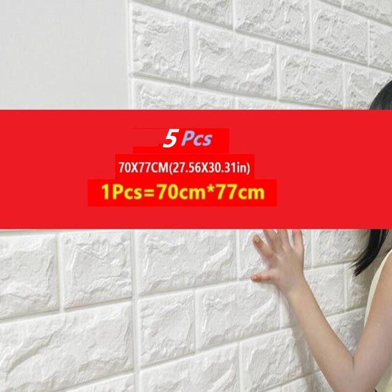 5 uds. Etiquetas para paredes de ladrillo 3D en la decoración de la pared espuma impermeable que cubre el papel pintado DIY para las habitaciones de los niños sala de estar fondo de sala