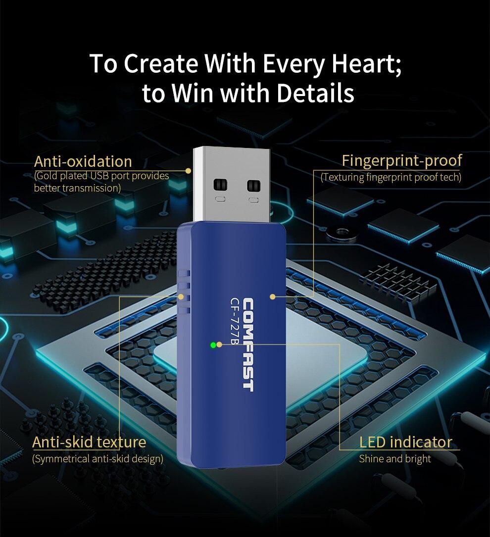 Transmissor sem Fio Dongle para Computador Bluetooth Adaptador Receptor – Bluethooth pc 1300mbps Banda Dupla Wi-fi Usb 4.2