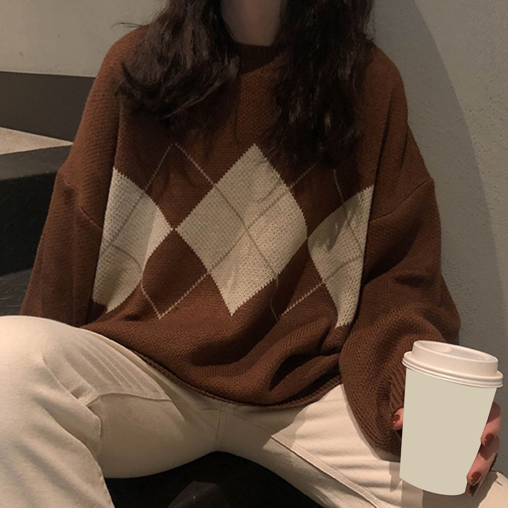 Autumn Winter Knitted Geometric-Pattern Sweater Oversize Jumpers Plaid Korean Ins-Style Women O-Neck Long-Sleeve 3-Colors Tops