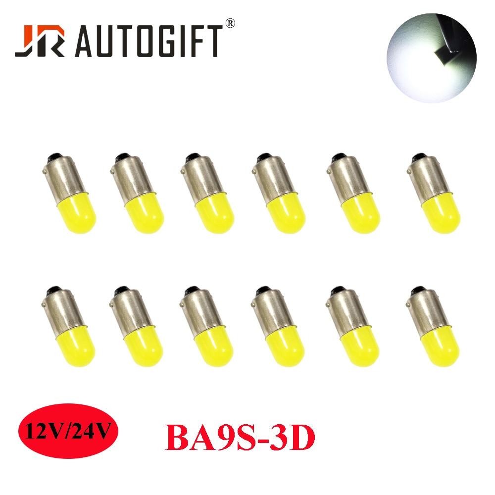 100Pcs 12V 24V BA9S 3D T4W 363 1895 233 Super Bright Round 3D COB LED Car License Plate Light Auto Interior Door Lamp Bulb White