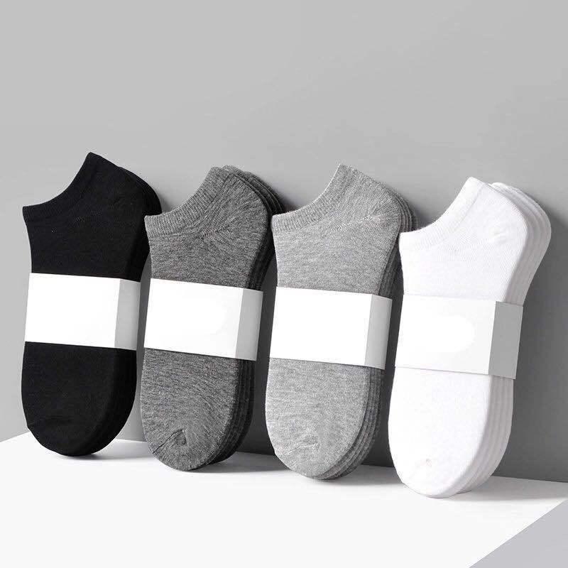 10 Pairs Women Man Socks Breathable Sports socks Solid Color Boat socks Comfortable Cotton Ankle Socks White Black