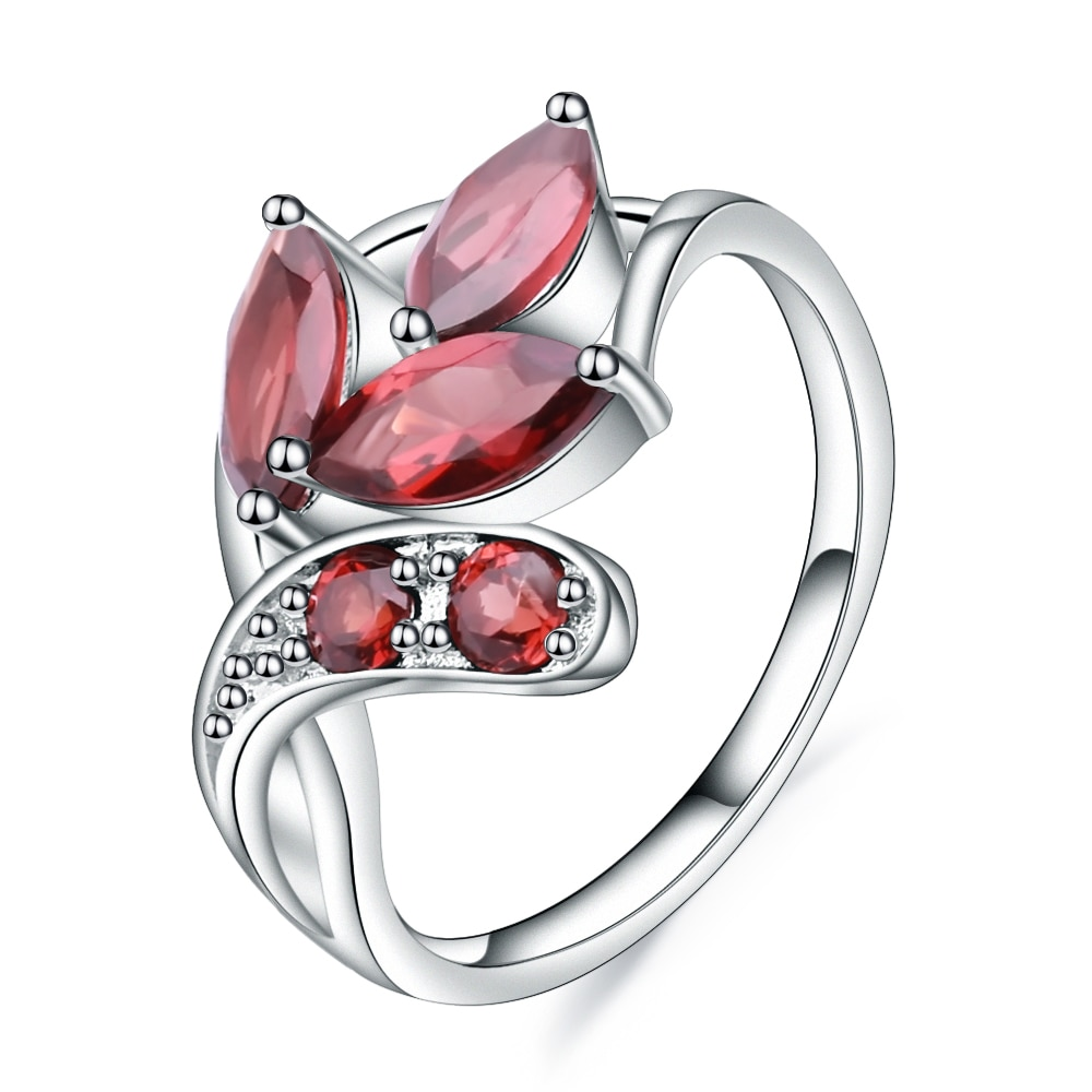 GEMS BALLET 2.38Ct Natural gema de granate roja anillo de Plata de Ley 925 Plata forma hoja anillos para las mujeres boda joyería fina