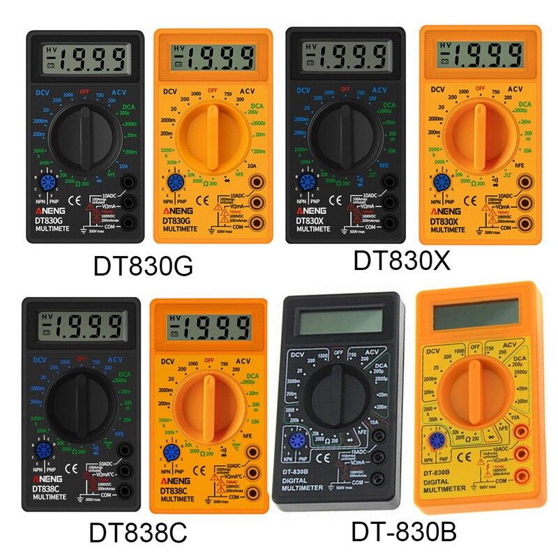 Multímetro Digital voltímetro amperímetro ohmímetro DC10V ~ 1000V 10A AC 750V corriente de prueba de pantalla LCD DT830B/G/X/D DT838C