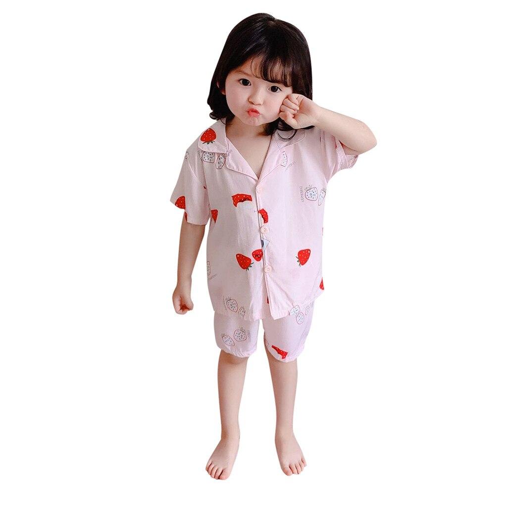 KLV pyjama à manches courtes pour petites filles   Vêtements pour bébés filles, haut et pantalon en forme de pyjama imprimé, livraison gratuite D4
