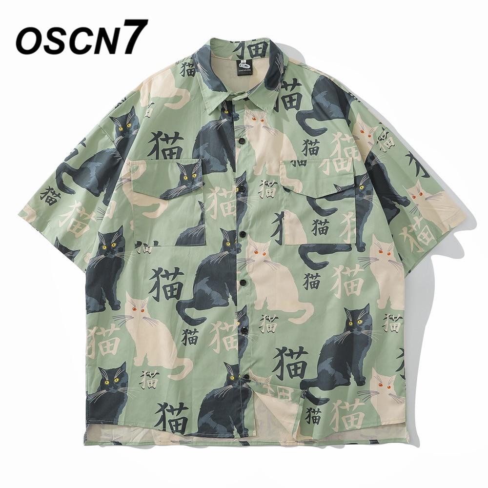 Oscn7 casual impresso manga curta camisa masculina rua 2020 carga praia oversize moda feminina harujuku camisas para homem 3030