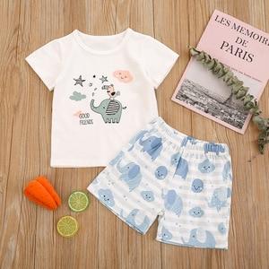 2021 New Baby girls Set White Cartoon Round Neck Pullover Small Fresh Summer Girl Short-sleeved Children's Clothing