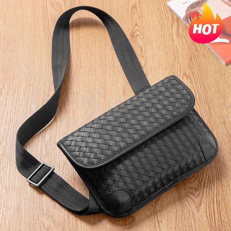 Chest Bag Men Authentic Leather Weave Luxury Brand Design Crossbody Shoulder Multi-Functional Simple Messenger 2021 New