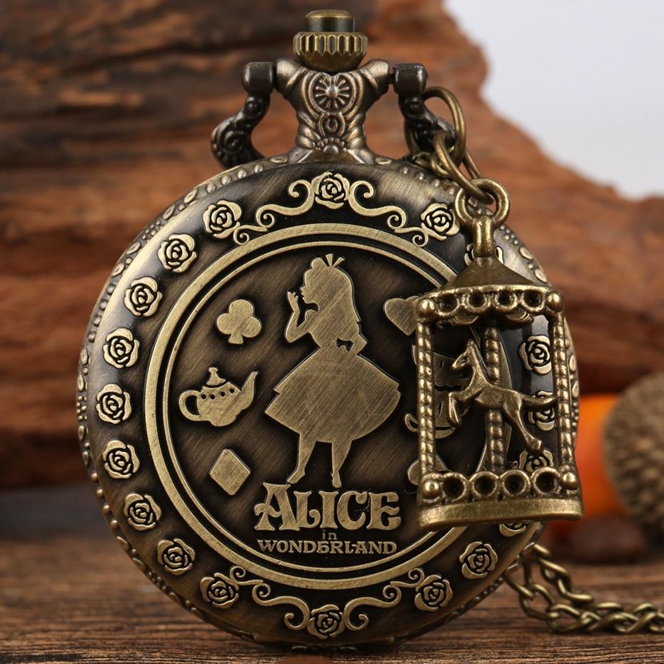 Retro bronzový sen Alice In Wonderland králík poker kolotoč příslušenství křemenné kapesní hodinky řetízek náhrdelník přívěsek pro dívky a ženy