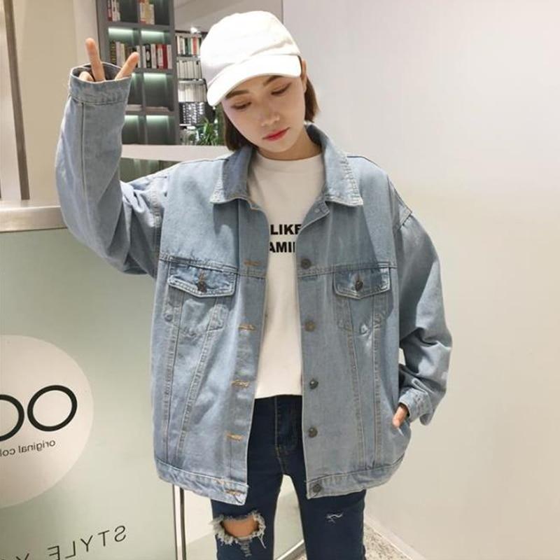 Spring 2021 New Korean Style Loose BF Style Long Sleeve Jacket Top Retro Hong Kong Style Denim Jacke