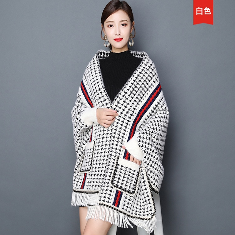 Lady Imitation Mink Plaid Cardigans Thick Poncho Houndstooth Autumn Winter Shawl Open Stitch Batwing Sleeves Cloak With Pocket swyivy ladies fur cloak shawl autumn winter coat cardigan shawl female casual loose plaid open stitch imitation fox fur collar