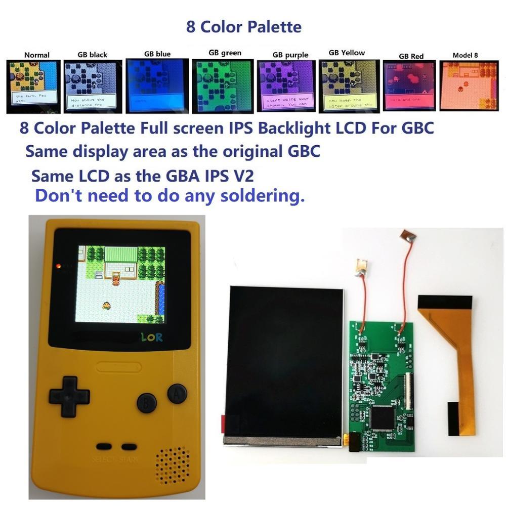 لوحة ألوان لجهاز Gameboy, لوحة ملونة 8 ألوان كاملة الحجم ips الخلفية LCD مجموعة ألوان Gameboy لوحدة تحكم GBC