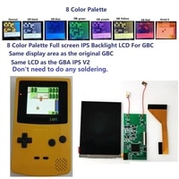 8 colorful palette full size ips backlight backlit lcd kit for gameboy color for gbc console