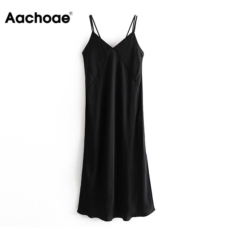 Aachoae negro Sexy Spaghetti Strap Silk vestido de las mujeres de moda V cuello Midi vestido de señora Split mancha Party Vestido Mujer Vestiti Donna