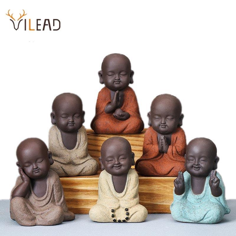VILEAD Ceramic Buddha Statues Modern Mini Monk Sculpture Tea Set Statuette Miniature Figurines for Home Decoration Accessories