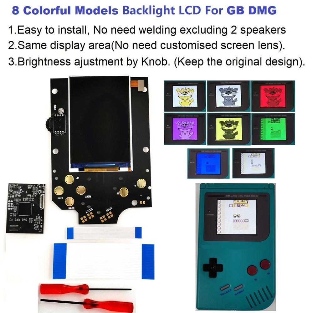 V3 8 نماذج ملونة كاملة الحجم مزقات الخلفية الخلفية LCD عدة ل GameBoy DMG GB DMG وحدة التحكم GB DMG و قبل قطع قذيفة