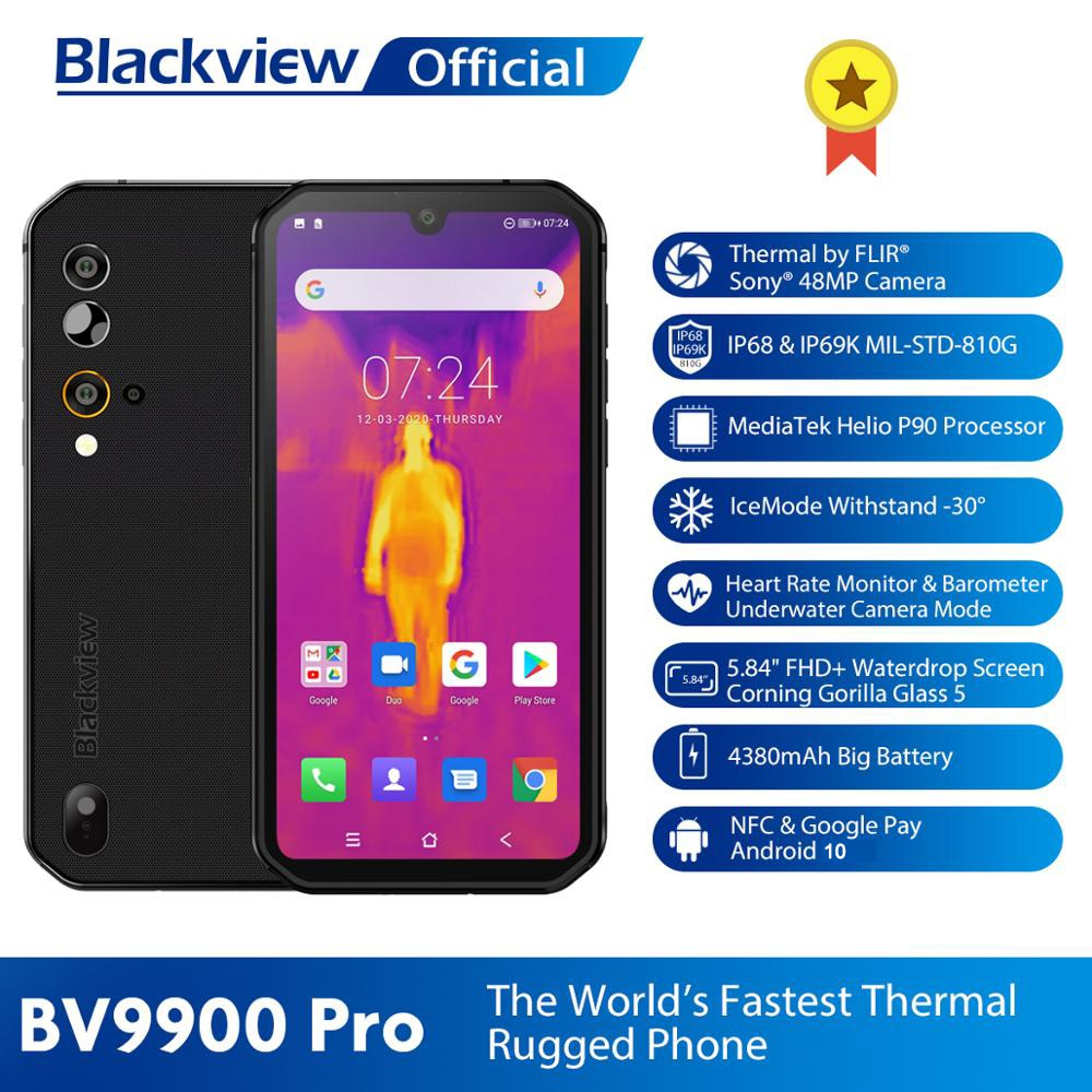 Blackview BV9900 Pro Thermal Camera Smartphone IP68 Waterproof 8GB+128GB Helio P90 Rugged Phone Quad 48MP Camera 4G Mobile Phone
