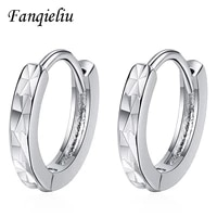 fanqieliu solid 925 sterling silver hoop earrings for women beating pattern small hoops fql21006