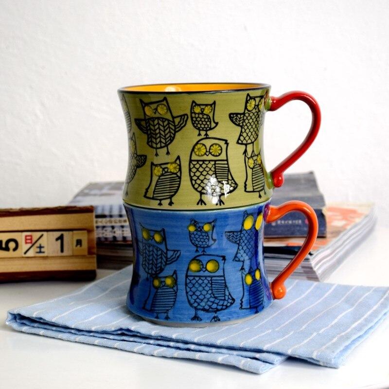 Taza de cerámica de estilo nórdico de comercio exterior taza de café retro búho personalidad taza pintada a mano taza de desayuno taza de leche LB030918