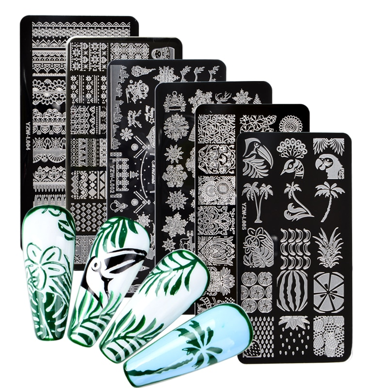 1 PC Lace Flower Animal Nail Stamping Plates Marble Image Stamp Templates Geometric Printing Stencil Tools недорого